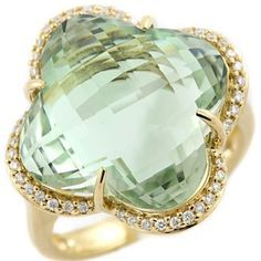 Large 20 00ct Clover Shaped Green Amethyst Diamond 14k Yellow Gold Cocktail Ring