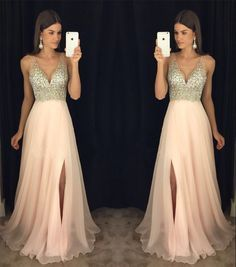 Prom Dresses 2018 New Arrival Prom Dress,Modest Prom Dress,sparkly crystal beaded v neck open back long chiffon prom dresses 2017 pageant evening gowns with leg slit Long Prom Dresses Uk, Sparkly Prom Dresses, Prom Dresses 2017, Modest Dresses, Bridesmaid Dresses, Prom Gowns, Dress Prom, Light Pink Homecoming Dresses, Party Dresses