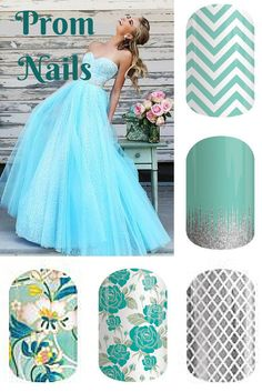 Jamberry Nails make the perfect accessory to your prom dress!!  Combine wraps for an accent nail or do all the same...Mint Chevron, Iced, Metallic Silver Fishnet, Destiny and Zen Garden. www.kirstenwood.jamberrynails.net