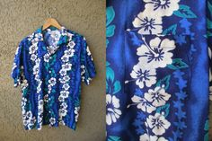 Hawaiian Shirt Blue Koko Knot Aloha Shirt by GeekGirlRetro on Etsy