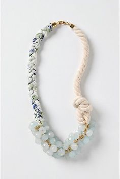 not sure how i feel about the mix of semi precious stone, gold chains and rope... #uniquejewelry