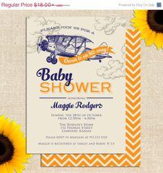 ON VACATION SALE Vintage Airplane Baby Shower Invitation Diy Printable
