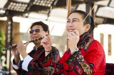 Lunar New Year February 1, 2014 - Beautiful traditional Chinese flute music serenaded the crowd at Pavilion Park.