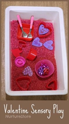 Valentine sensory tub for babies and toddlers, in four easy steps, using things you already have. Valentine sensory play, pink sensory tub idea, Valentine activity for toddlers Valentine Sensory, Kinder Valentines, Valentine Theme, Valentines Day Activities, Valentine Day Crafts, Valentine Crafts For Toddlers, Valentines Ideas For Babies, Valentines Ideas For Preschoolers, Walmart Valentines