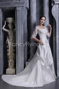 1/2 Sleeves Square Neckline A-line Full Length Winter Wedding Dresses at fancyflyingfox.com