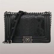Ingrid Faux Snake Leather Medium Bag Black