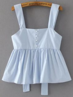 Shop Open Back Peplum Top With Pearls Embellished at ROMWE, discover more fashion styles online. Teen Fashion Outfits, Trendy Outfits, Girl Fashion, Girl Outfits, Fashion Dresses, Fashion Styles, Blouse Styles, Blouse Designs, Cute Summer Outfits