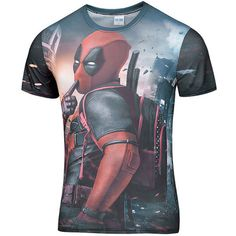 2016 New Arrive American Comic Badass Deadpool T-Shirt Tees Men men t shirt Cartoo 3d t shirt Funny Casual tee shirts tops