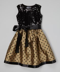 Take a look at this Gold & Black Sequin & Polka Dot Dress - Infant, Toddler & Girls on zulily today!
