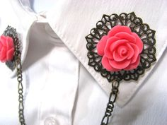 Sweater Clip Bright Pink Rose and Filigree by SpinTilYurDizzy, $16.00