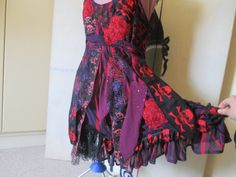Skull Fairy gypsy upcycled dress pink by Twistedtinkerbell13