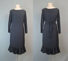 Vintage Black Cocktail Dress 35 bust, Chiffon Ruffle Hem 1960s Party by dandelionvintage on Etsy