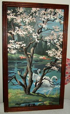 Beautiful Vintage Retro Paint by Number Swan Oil Painting Springtime | eBay $20