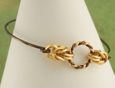 Gold and Vintage Bronze Bangle  Twist and Byzantine by favmoongirl, $20.00