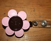 Upcycled/Recycled Retractable Flower ID Badge Holder Made From Flip Off Caps From Medication Vials-Rn, Lpn, Cna,. $5.00, via Etsy.
