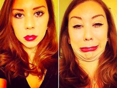 This is how I think I look in real life.....and on the right is how the picture turns out.
