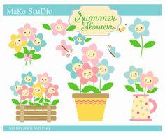 flowers clip art flower pot clip artsunflowers clip by makostudio