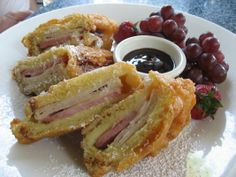 """""""This is the real Monte Cristo sandwich. It has a nice thick batter and is absolutely delicious. Enjoy this hot sandwich with currant jelly or make a currant sauce with currant jelly, water and heavy. Paninis, Great Recipes, Favorite Recipes, Yummy Recipes, Healthy Recipes, Monte Cristo Sandwich, Soup And Sandwich, Sandwich Ideas, Sandwich Recipes"""
