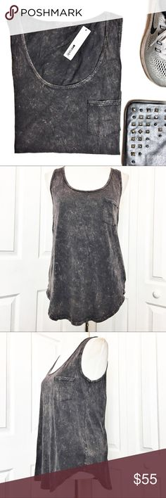 """LAmade Jersey Boyfriend Tank LAmade jersey-knit boyfriend Tank.  Color is called Raven which is a slate gray.  Has scoop neckline, chest patch pocket, relaxed silhouette, and shirttail hem.  Material tag has been listed.  Measurements laid flat: Bust:  19"""" Length from top of shoulder to longest part of hem:  27"""" *Measurements are approximate. LAmade Tops Tank Tops"""