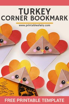 Turkey corner bookmark: easy Thanksgiving paper craft for kids Looking for an easy Thanksgiving craft for kids? Make these adorable turkey corner bookmarks with this free printable template. Thanksgiving Crafts For Toddlers, Thanksgiving Crafts For Kids, Holiday Crafts, Thanksgiving Desserts, Thanksgiving Turkey, Fall Activities For Kids, Kids Fun, Holiday Desserts, Paper Crafts For Kids