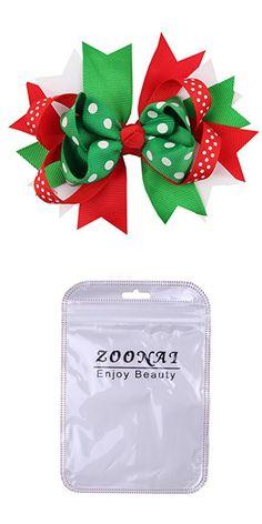 ZOONAI Baby Girl Bowknot Christmas Hair Clip Infant Toddler Ornaments Hairpin Headdress Hair Accessories (Green Dot)