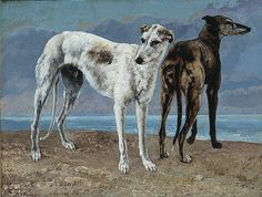 Gustave Courbet - The Greyhounds of the Comte de Choiseul - Lévrier greyhound — Wikipédia