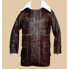 The Dark Knight Rises Bane Cowhide Dark Brown Distressed Coat