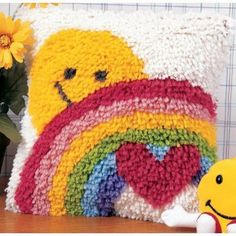 "Wonderart Latch Hook Kit 12""X12"" - Sunshine Rainbow"
