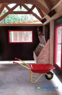 Casetta in legno per bambini stalla dotata di attrezzi e cariola. Adatta ai bambini dai 3 ai 6 anni della scuola dell'infanzia. 3, Garden Tools, Outdoor Power Equipment