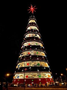 This Christmas tree is in Ibirapuera Park, in Sao Paulo, Brazil. In Dec., other trees in the park are covered in lights too, and there's a famous fountain that does a light show with Christmas colors.