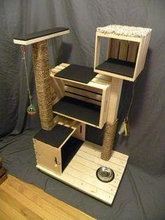 Meubles très lourd pour les gros chats ! Construit pour durer. Ce nest pas votre post rayures typiques tapis couverts, ce condo de chat à la main est garanti pour garder votre chat heureux et en bonne santé. Ce robuste treehouse est construit avec des bois neufs et recyclés et assemblé avec 2 et 4 vis à tête cruciforme. Les poteaux 3 « x 2 » sont bien emballes avec corde de Manille naturel. Les ihooks sont installées pour contenir nimporte quel jouet de votre choix et chaque stand sera…