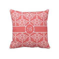 Feminine Pink and White Damask Monogram Throw Pillow http://www.zazzle.com/feminine_pink_and_white_damask_monogram_pillow-189332058946197963?rf=238835258815790439