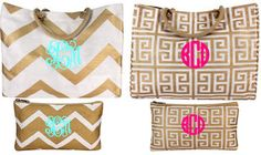 Monogrammed Greek Key Chevron Pattern Tote & Accessory Bag Set