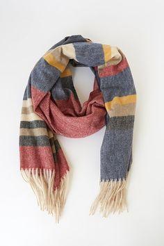 "Italian cashmere /& wool plaid gray winter scarf; X-large 72/"" x 27/"" ;Gorgeous!"
