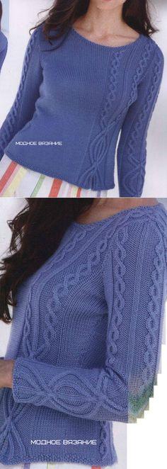 El pulóver por los rayos con las inserciones de la trenza en relieve - la labor de punto A la moda