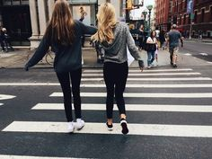 best friends bff black clothes blonde hair brown hair clothes cute girls girly hair styles road zebra crossing| We Heart It