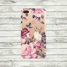 iPhone 7 case clear floral roses Plastic or Silicone iPhone 6