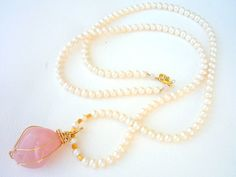 Freshwater Pearls necklace with hand wrapped Rose Quartz pendant. Handmade Art, Handcrafted Jewelry, Unique Jewelry, Quartz Crystal, Rose Quartz, Freshwater Pearl Necklaces, Crystals And Gemstones, Gemstone Necklace, Jewerly