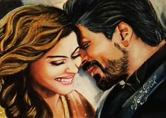 Dilwale Shahrukh khan kajol drawing (oil pastel) by Memina Gül