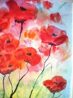 One more painting with poppies. These watercolor flowers seem really mysterious for they are shadowy... Amazing!