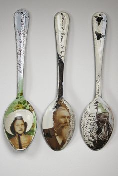 Sue Brown Printmaker: ENAMEL GALLERY. These are the most detailed spoons I have ever seen! I love the idea of making them look like black and white photos and postcards.
