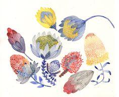 Protea Blooms - Original painting. $115.00, via Etsy.