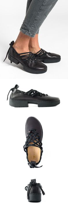 $335.00 | 	Trippen Crossing Shoe in Black | Trippen shoes are exceptional in design and committed to environmentally conscious production. Made from vegetable tanned leather and rubber soles for comfort. The black leather shoe has a woven lace detail on a slight platform. Sold online and in-store in Workshop in Santa Fe, New Mexico as the largest collection in the USA.