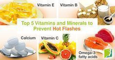The top 5 vitamins and minerals to prevent hot flashes.