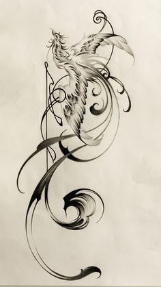 phoenix with brushstrokes,tattoo design,鳳凰,刺青 sumi tattoo, タトゥー 刺青 水墨画 artwork, tattoo shop, Japanese style tattoo