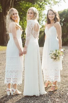 Bridesmaids wear white dresses for an English Garden Wedding. Photography by http://www.jayrowden.com/