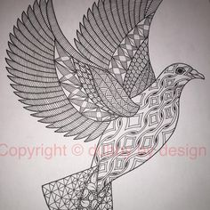 Dove template from Ornation Creation. #dubbybydesign #zentangle #zentangleinspiredart #benkwok #ornationcreation #inkdrawing #zendoodle #doodle