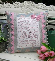 Sewing Cushions You Are My Sunshine - by Sally Giblin For The Rivendale Collection Cushion Pattern Patchwork Pillow, Quilted Pillow, Patchwork Quilting, Crochet Cushions, Sewing Pillows, Cute Pillows, Throw Pillows, Reading Pillow, Fabric Patch