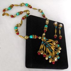 Sign Miriam Haskell Egyptian Turquoise Carnelian Pearl Tassel Necklace Earring | eBay