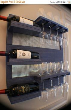 ****This is a MADE TO ORDER listing. You will receive a custom made wine rack in your choice of stain color and decorative metal mesh. The wine rack pictured above already has a home.***** THIS WINE RACK IS FOR WHITE WINE AND STANDARD RED WINE GLASSES. THE LARGEST THE FOOT OF YOUR